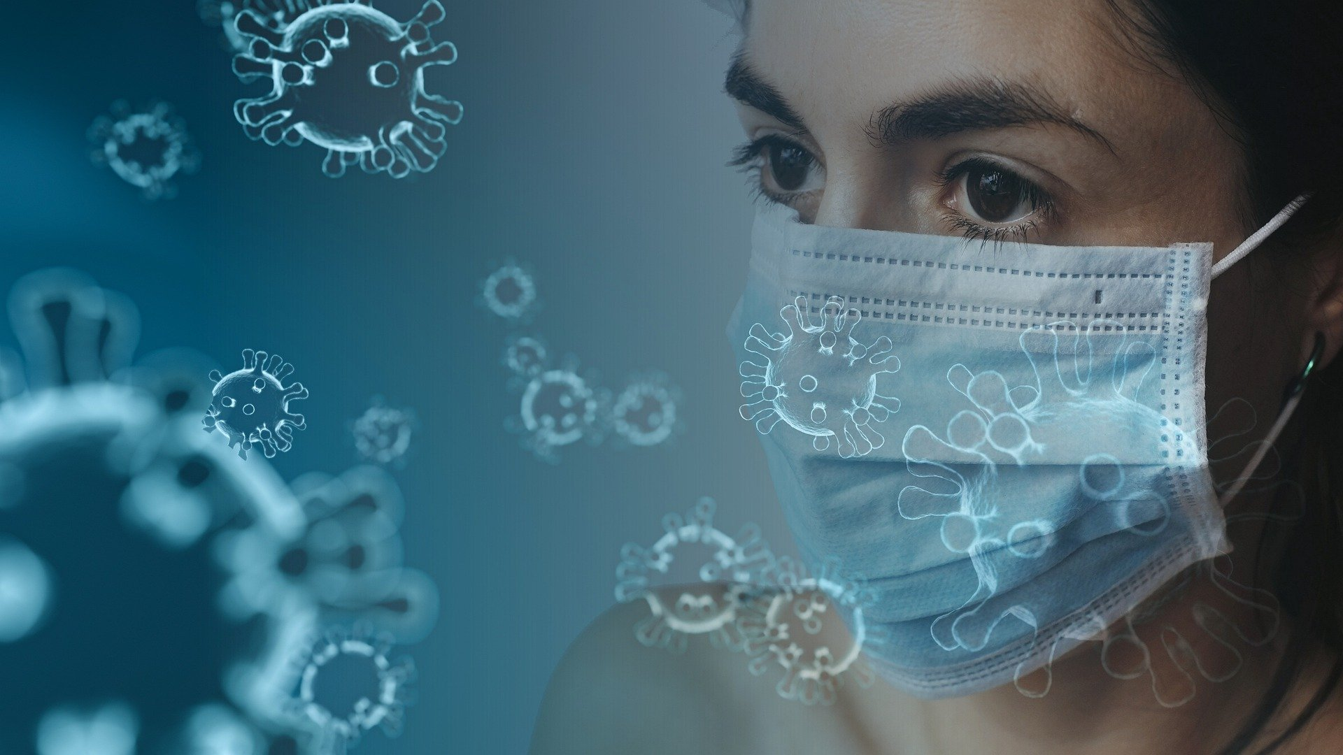 woman in a medical mask, virus floating in the air